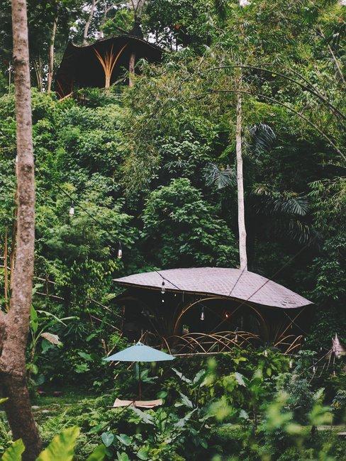 Simpel huis met scheef dak in de jungle