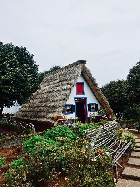 Wit gekalkt natuurhuisje met rieten dak
