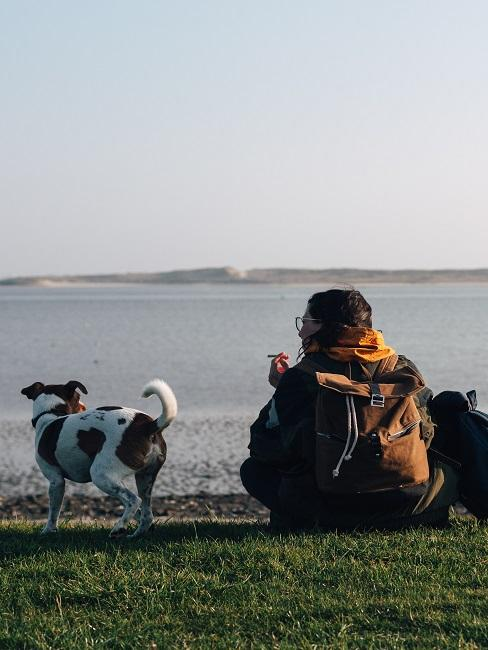 man met hond aan zee