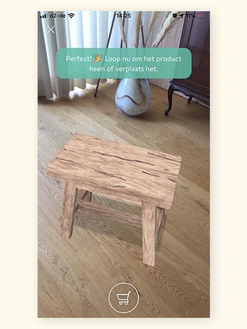 Augmented Reality houten kruk in woonkamer