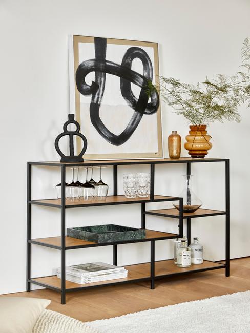 Open wandkast met modern zwart wit schilderij