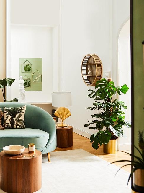 Biały salon z sofą w odcieniu zieleni, drewnianym stolikiem oraz roślinami