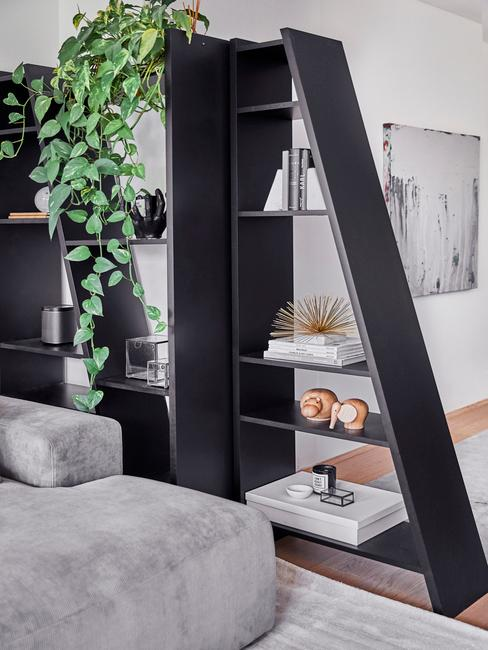 Zbliżenie na czarną półkę z rośliną, dekoracjami oraz fragmentem szarej sofy
