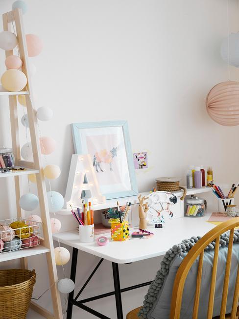 Kąciki do nauki w domu w pokoju dzieciębym z białym biurkiem, krzesłem oraz dekoracjami