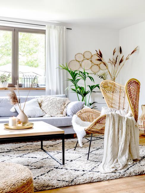 Jasny salon ze stolikiem kawowym, błękitna kanapą, rattanowym fotelem oraz roślinami jako dekoracje