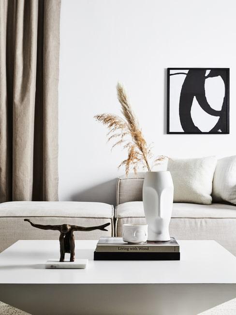 Czarno-biały designerski salon z eksponatami na stoliku kawowym