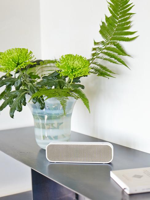 Czarny stolik z głośnikiem oraz wazonem z kwiatami