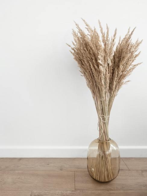 Bukiet z trawy pampasowej w transparentnym wazonie