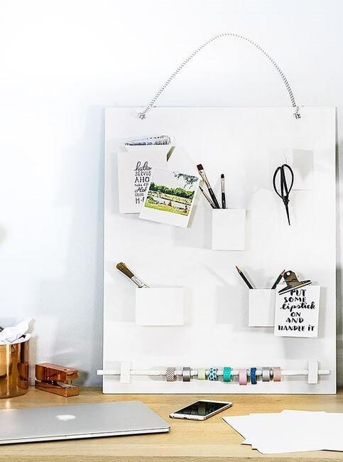 Byały organizer na biurko DIY wykonywany metodą DIY