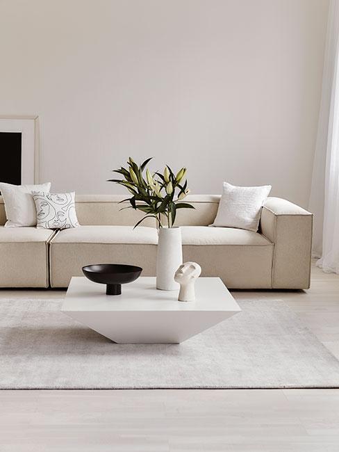 jasny minimalistyczny salon z sofą modułową