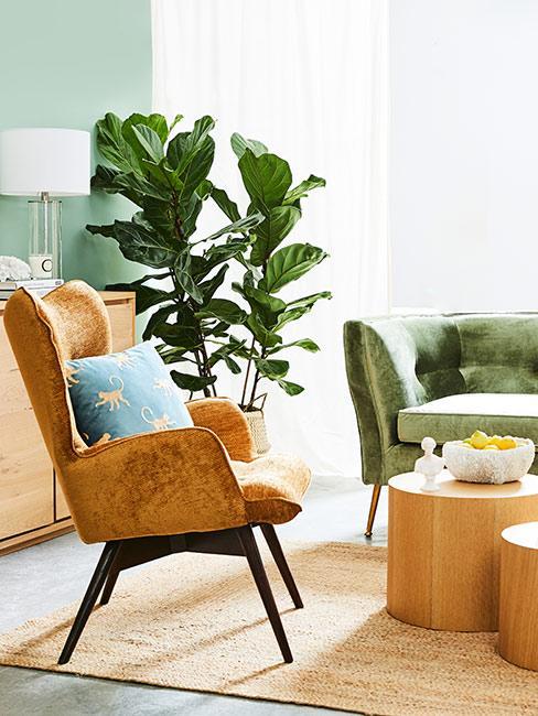 Pomarańczowy fotel obok stolików z drewna na tle dużego fikusa