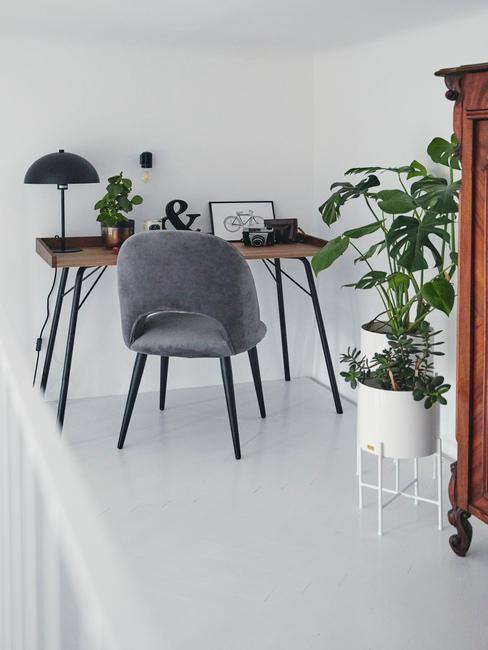Antresola w mieszkaniu z drewnianym biurkiem, szare krzesło, dużą, białą doniczkę z monsterą oraz drewnianą szafką