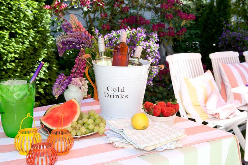 Gartenparty Sommer Snacks Tisch Wein