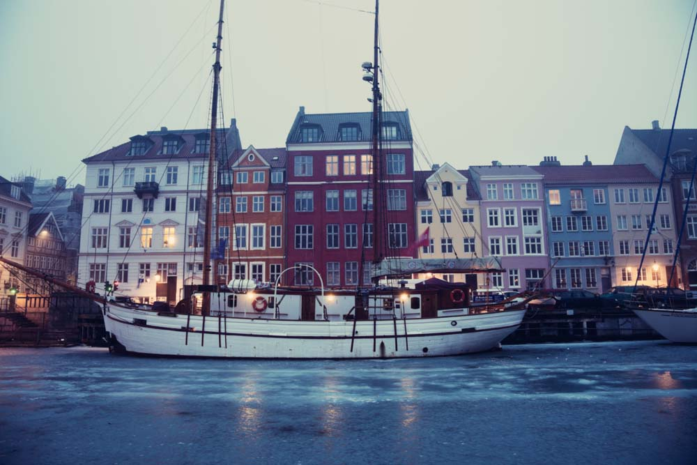 Denmark, Copenhagen, Nyhavn district on early winter morning