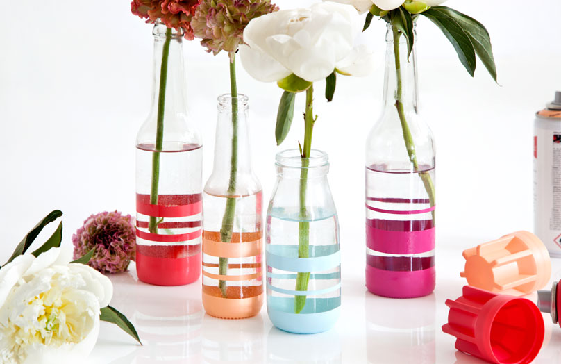 DIY Gestreifte Vasen