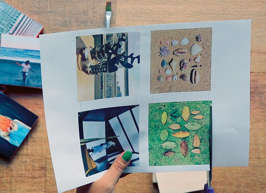 1. Zunächst Ihre liebsten Bilder aussuchen und in Grösse der Holzblöcke auf Papier drucken.