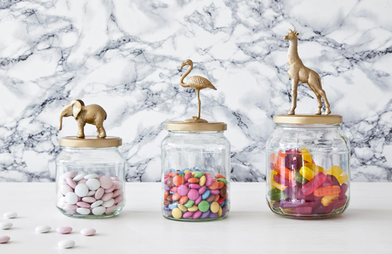 DIY: Sklenice se zlatými zvířátky