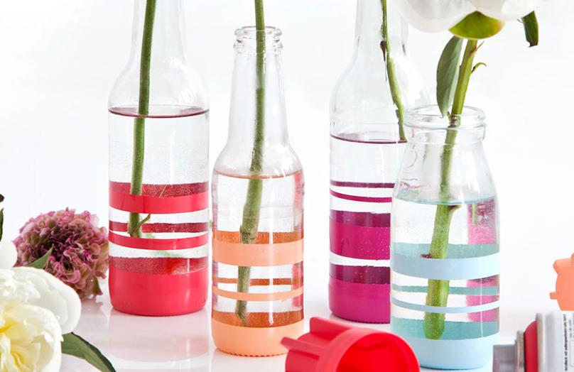 DIY: Pruhované vázy