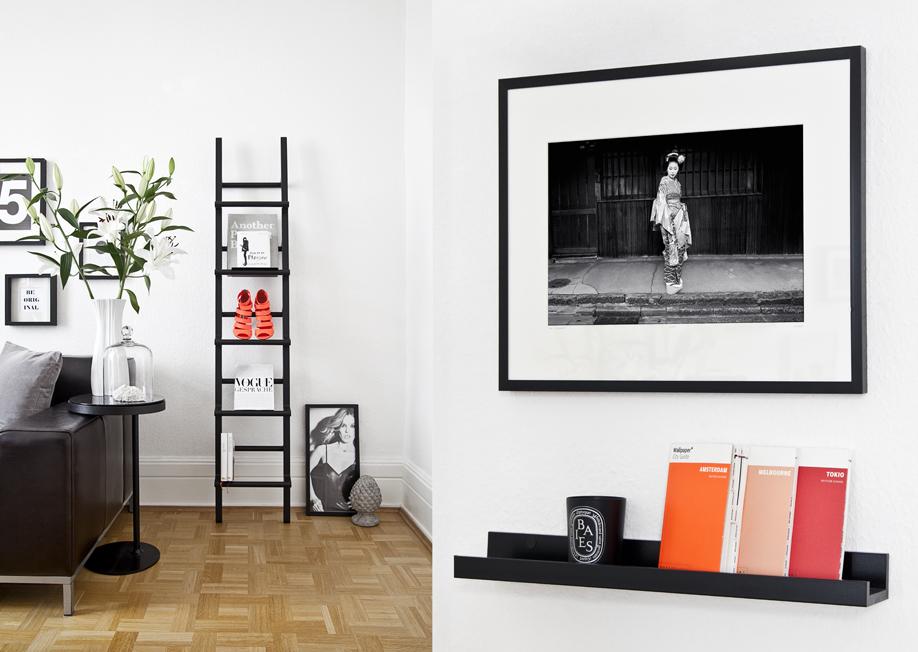 černobílý interiér a barevné prvky
