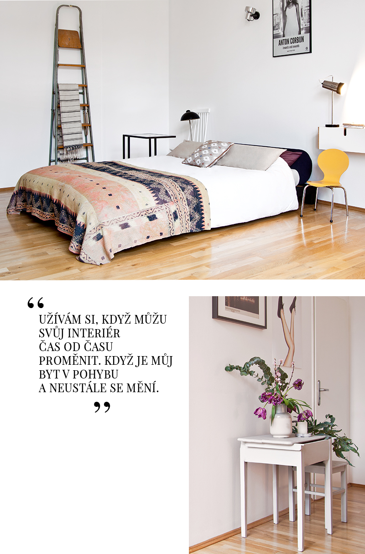 retro styl ložnice