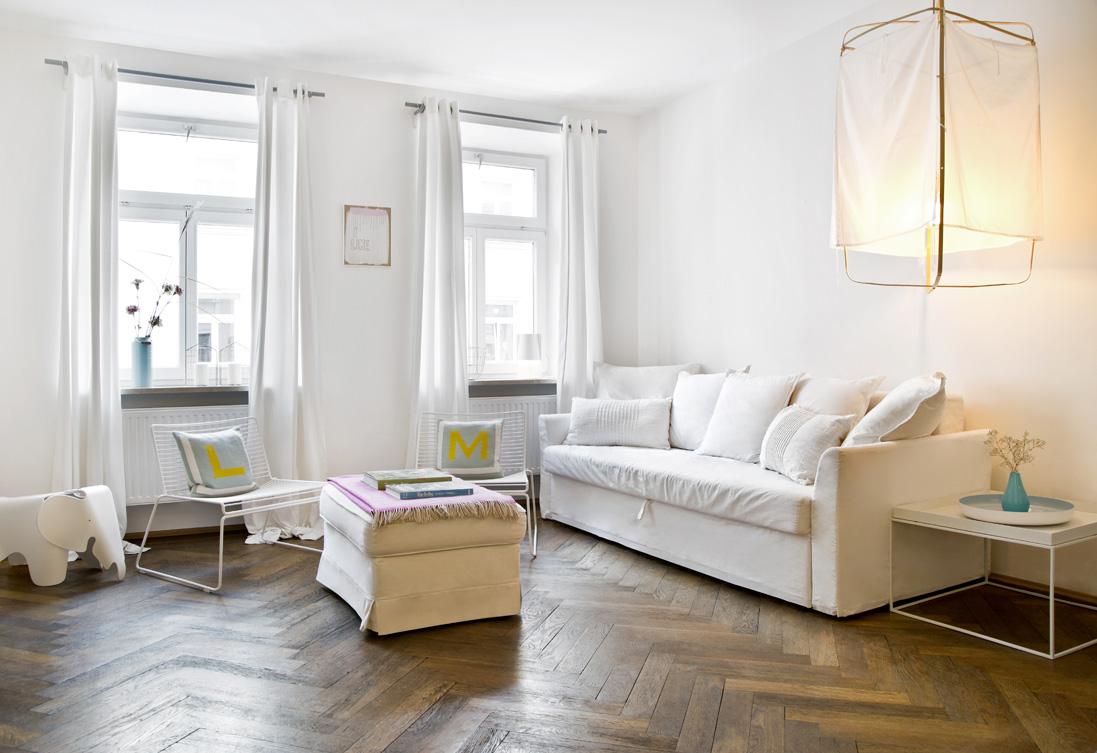 skandinávský obývací pokoj inspirace