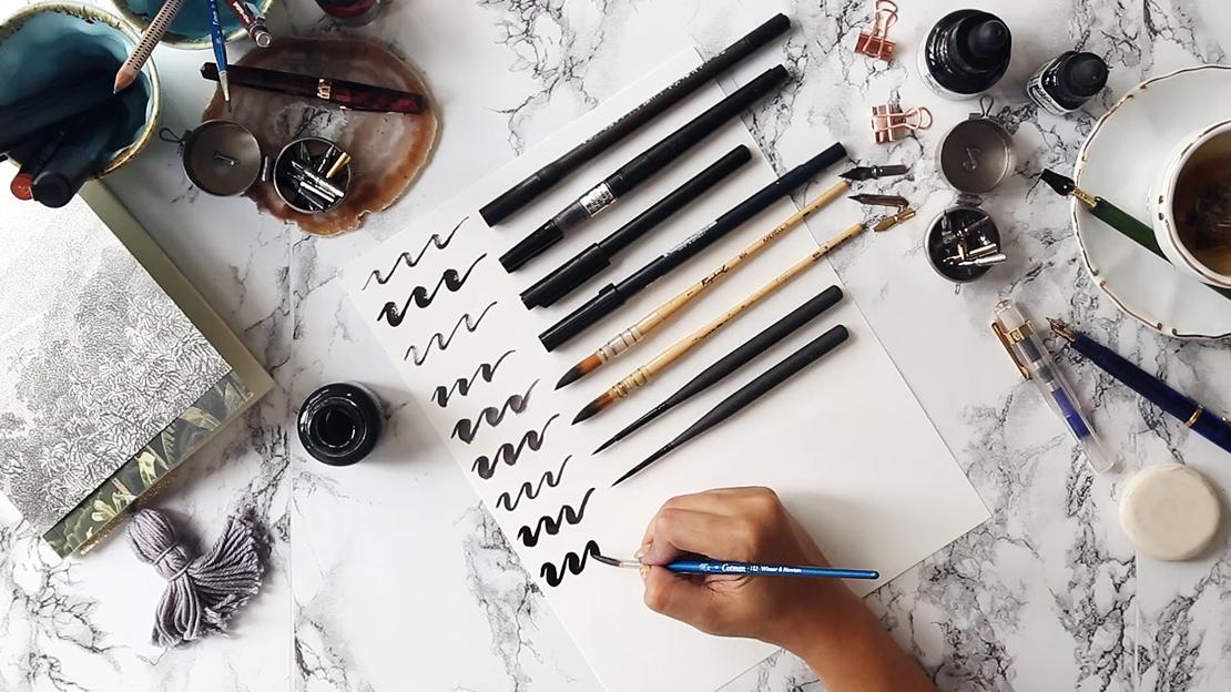 kaligrafické pomůcky a pera