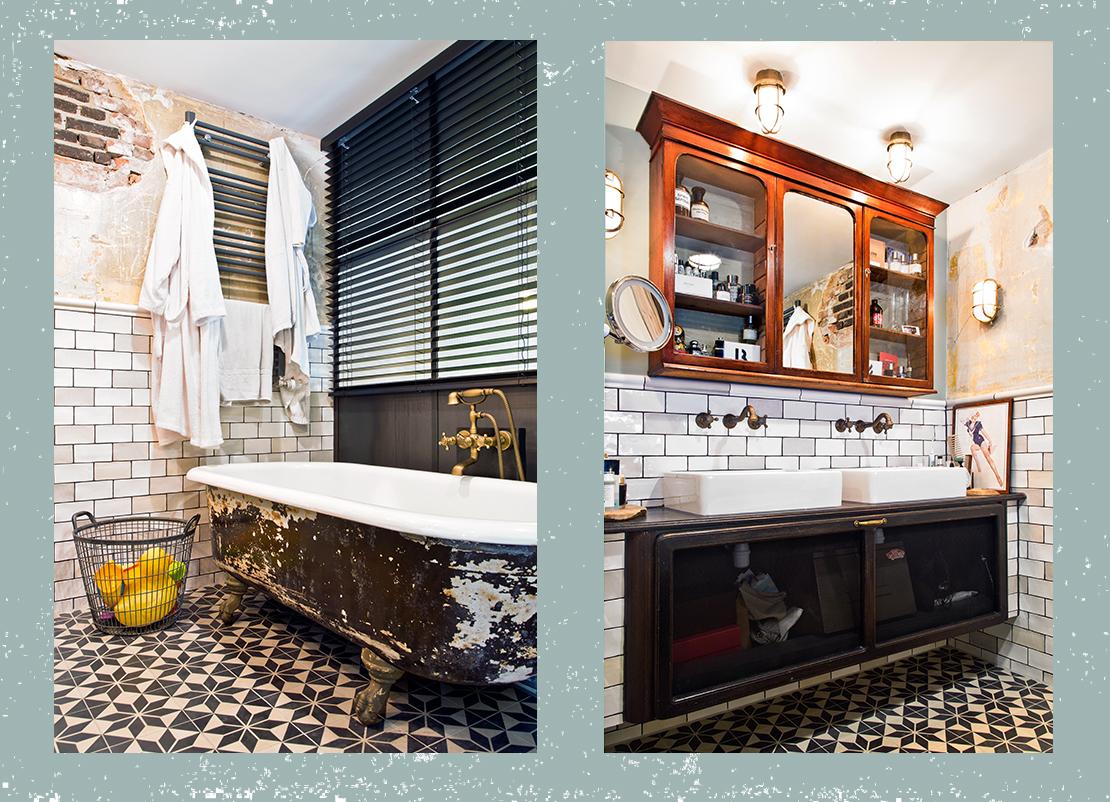 industriální byt koupelna