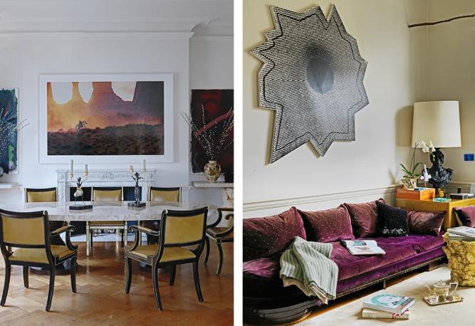 Dieses Zuhause in Porto zeigt, wie einladend Schwarz sein kann. Olivgrüne Eames-Fiberglas-Schalenstühle nehmen die Farbe des großen, modernen Gemäldes auf, zwei Teppiche sorgen für Gemütlichkeit im Esszimmer. Neben einzelnen großen Objekten fungiert die Hausbar als edles Deko-Element. Ein Musterbeispiel für maskuline Eleganz!