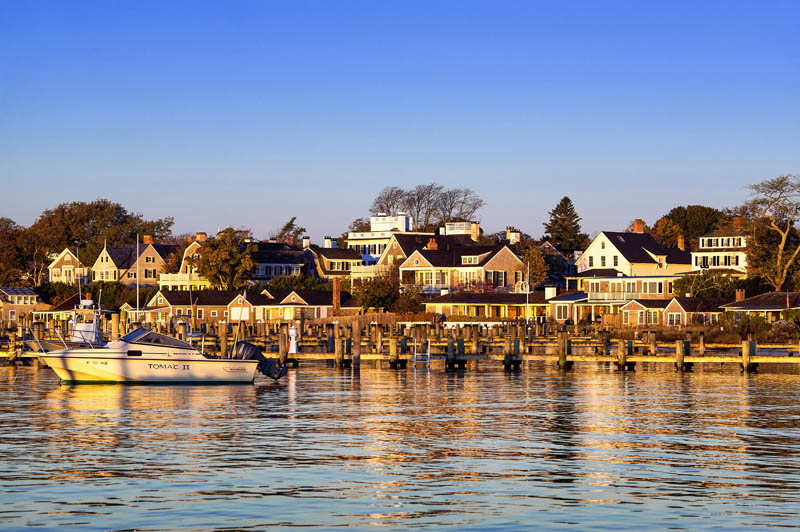 Edgartown harbor and homes