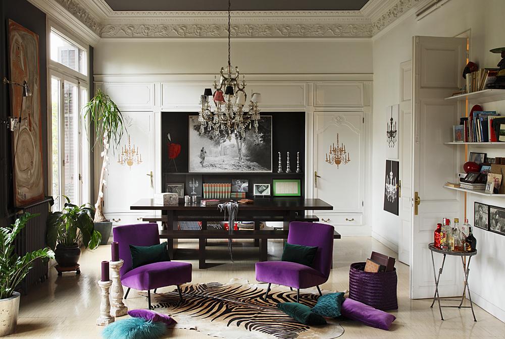 Wohnzimmer Purpur Sessel