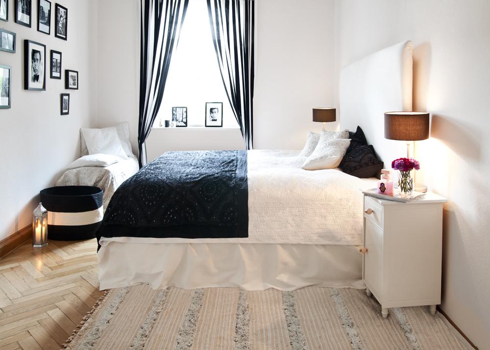 Schlafzimmer in schwarz weiß Look