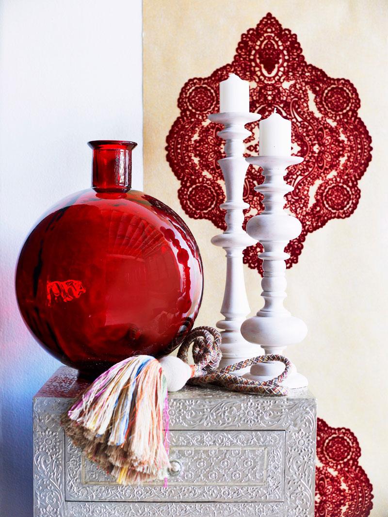 Orient Kerzenhalter rote Vase