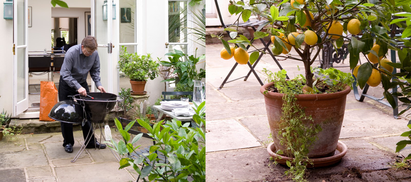 Sebastian Conran im Garten am Grill mit Zitronenbaum