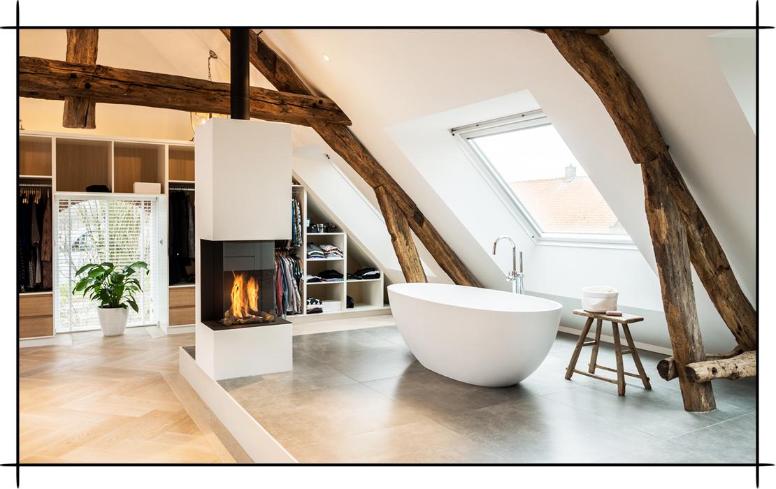 Joep van Os badezimmer  kachelofen Badewanne