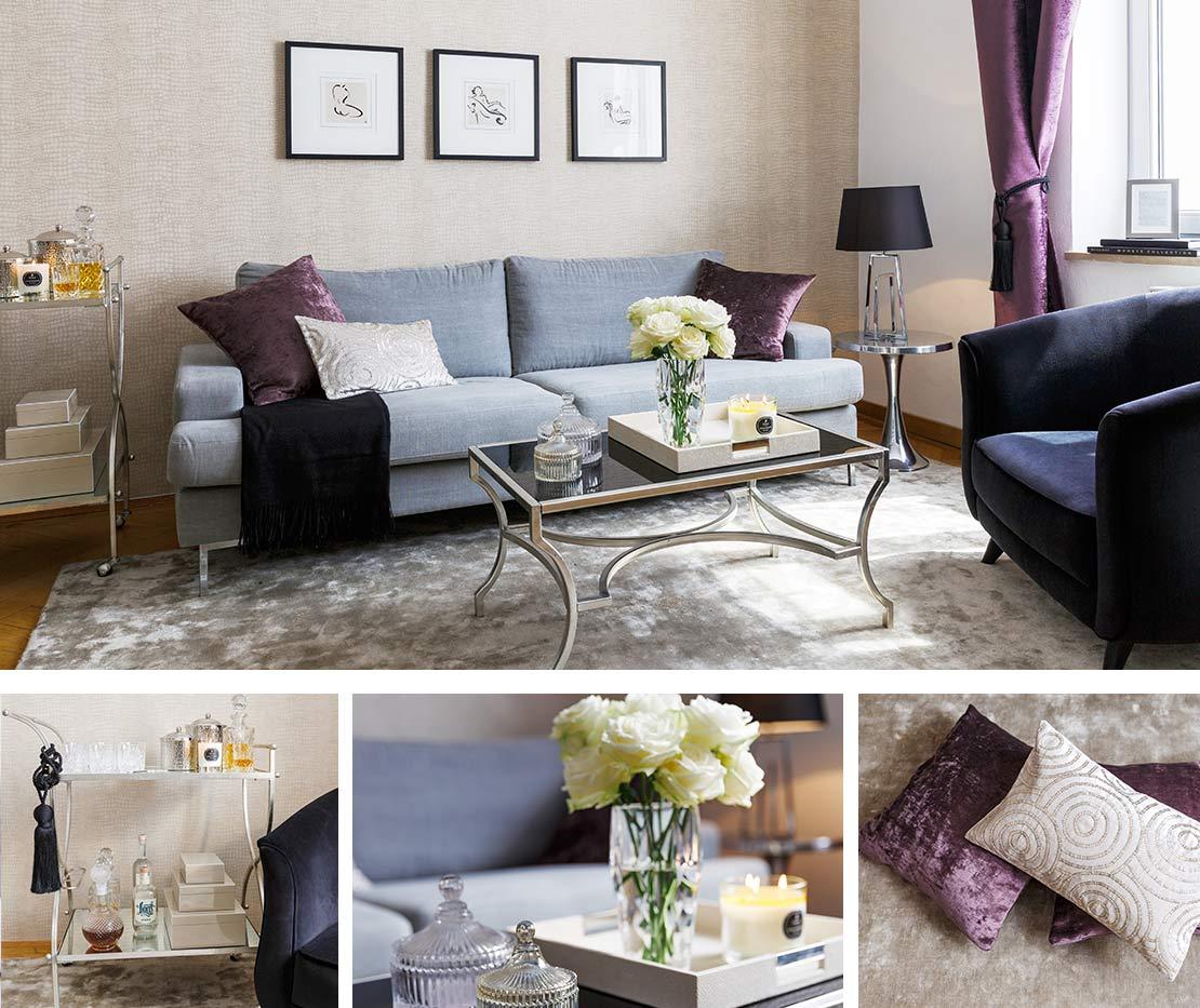 Graues Sofa im Glam Look