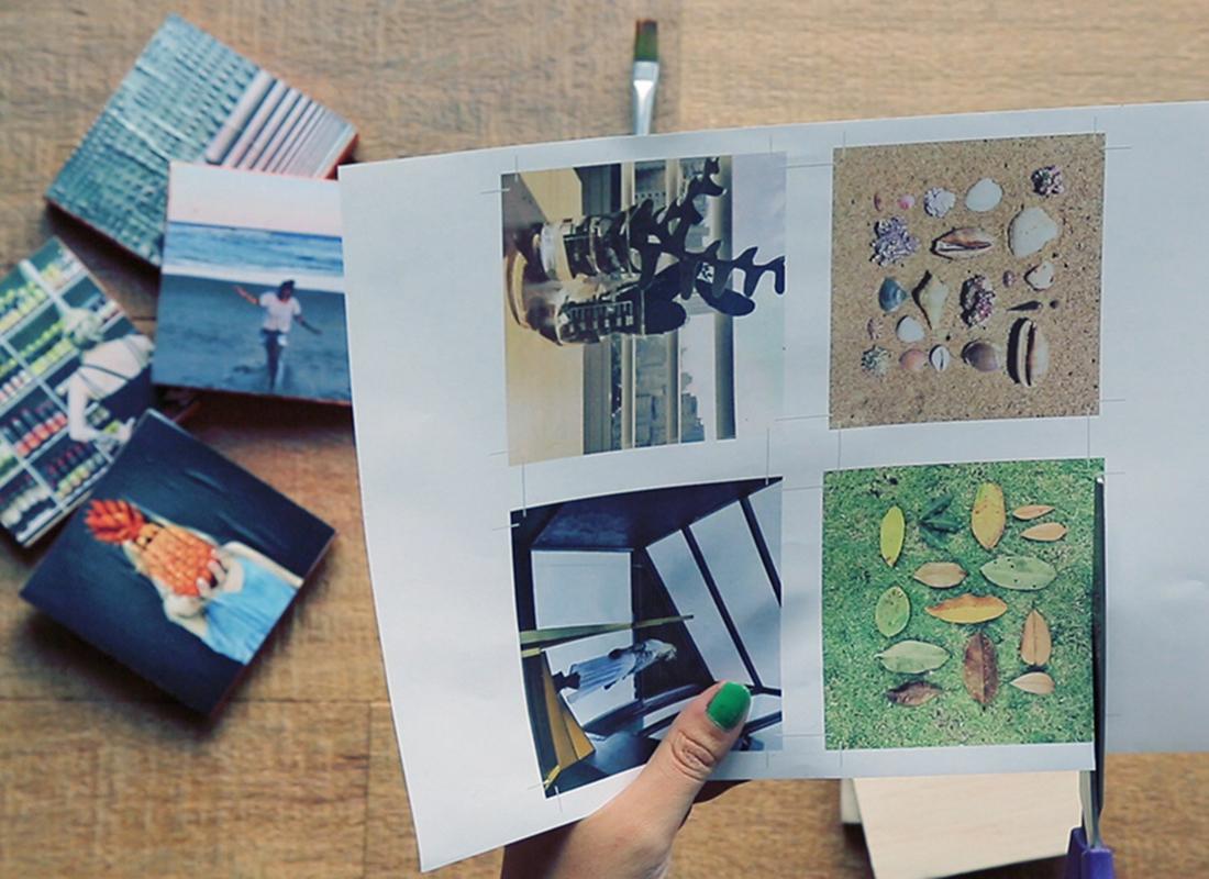 1. Zunächst Ihre liebsten Bilder aussuchen und in Größe der Holzblöcke auf Papier drucken.