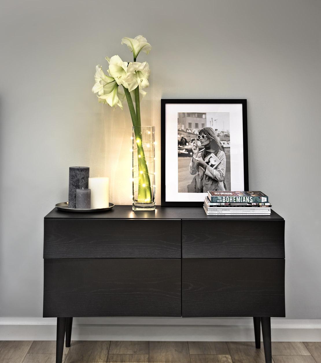 Lichterkette-Blumenvase