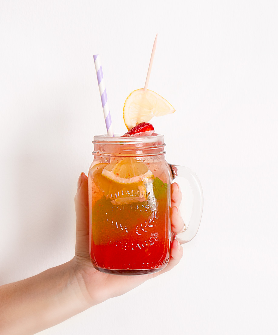 limonada de fresa casera lista