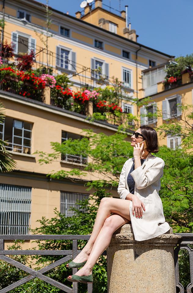 Margot Zanni en el barrio de Brera, Milán.