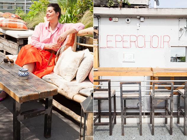 El bar-terraza de Le Perchoir es el lugar ideal para disfrutar de una cerveza fría o un cóctel con vistas a los tejados parisinos y al Sacré-Coeur.