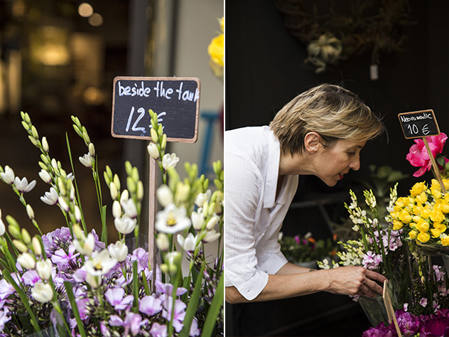 Y comprar flores en la entrada del local