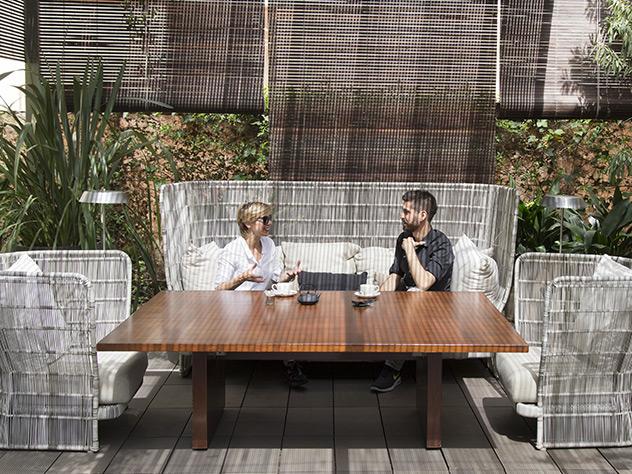 Con Daniel Jambrina, nuestro Responsable de Imagen, en la terraza Las Mimosas del hotel Mandarín