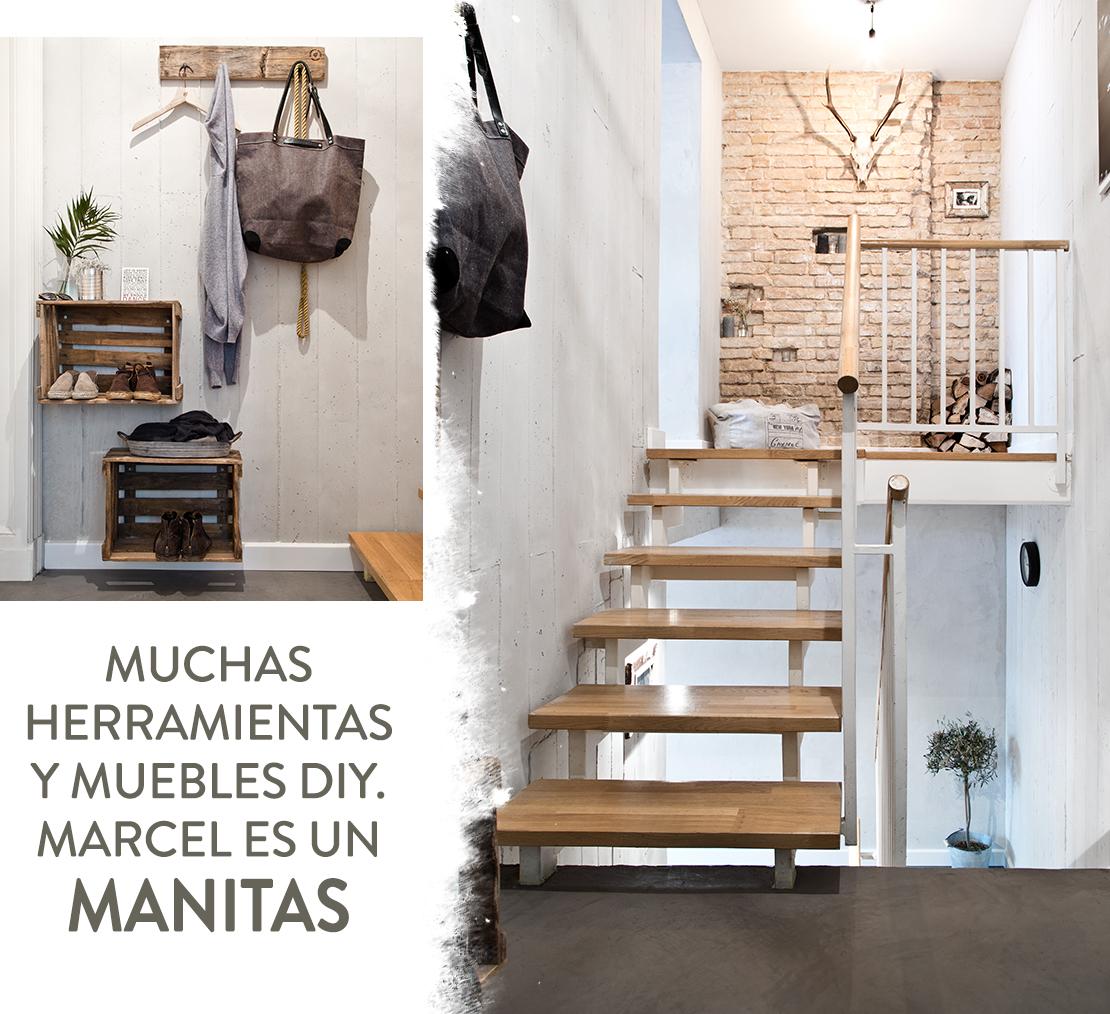 Estilo rústico urbano escaleras