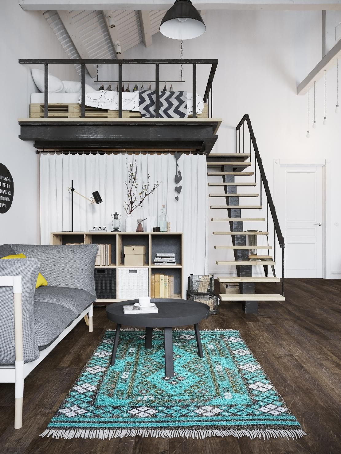 loft-nordico-praga-cama-altillo-alfombra