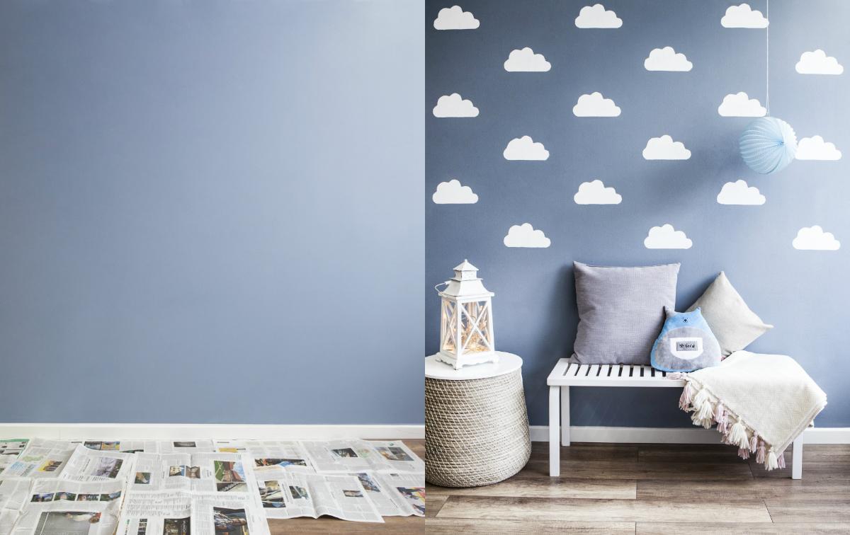 Cómo pintar nubes en la pared antes y después