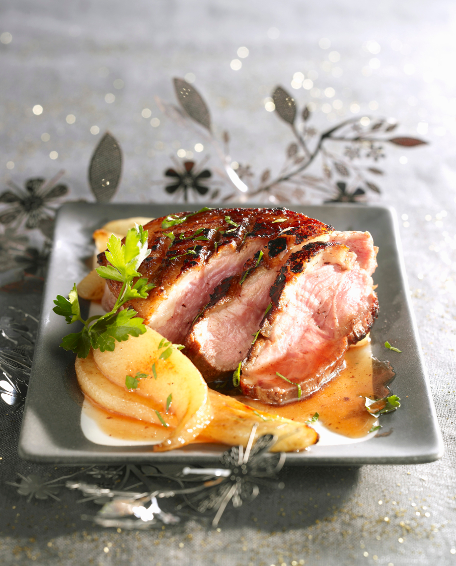 Menú especial Fin de Año - pato asado con peras