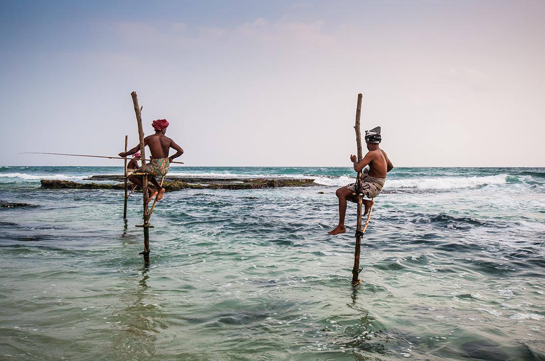 Pescadores en Sri Lank