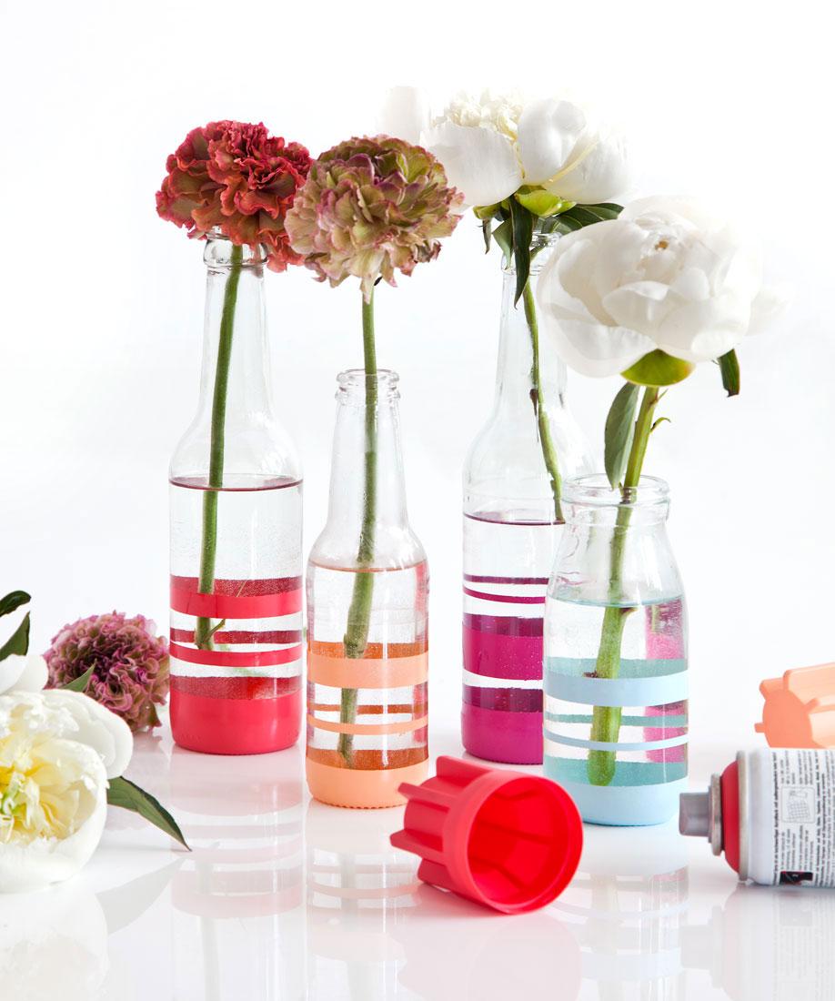 Floreros de vidrio DIY flores