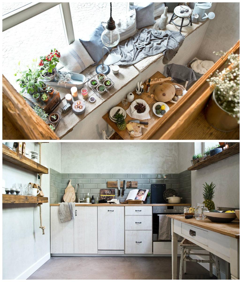 Cocina de estilo rústico urbano