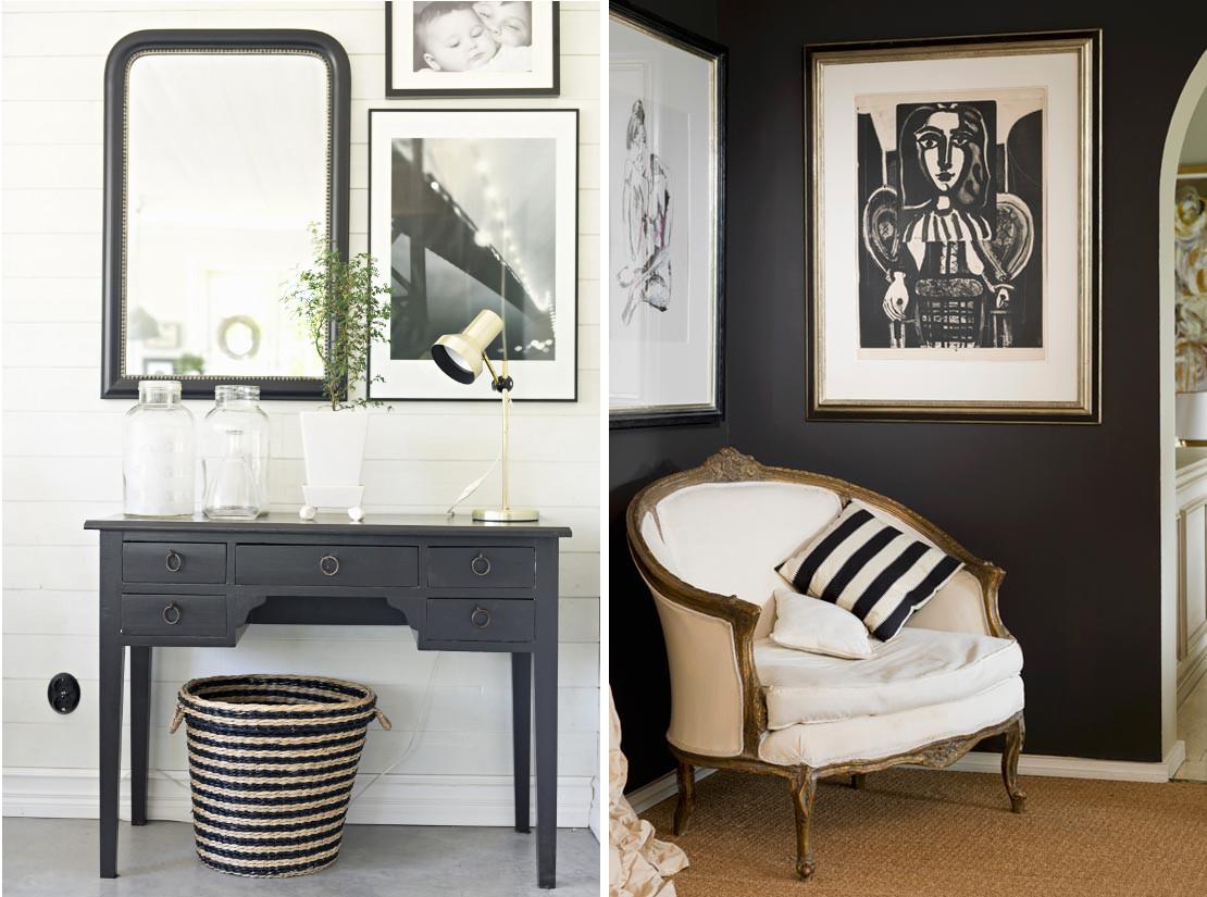 Decoración en blanco y negro elegante